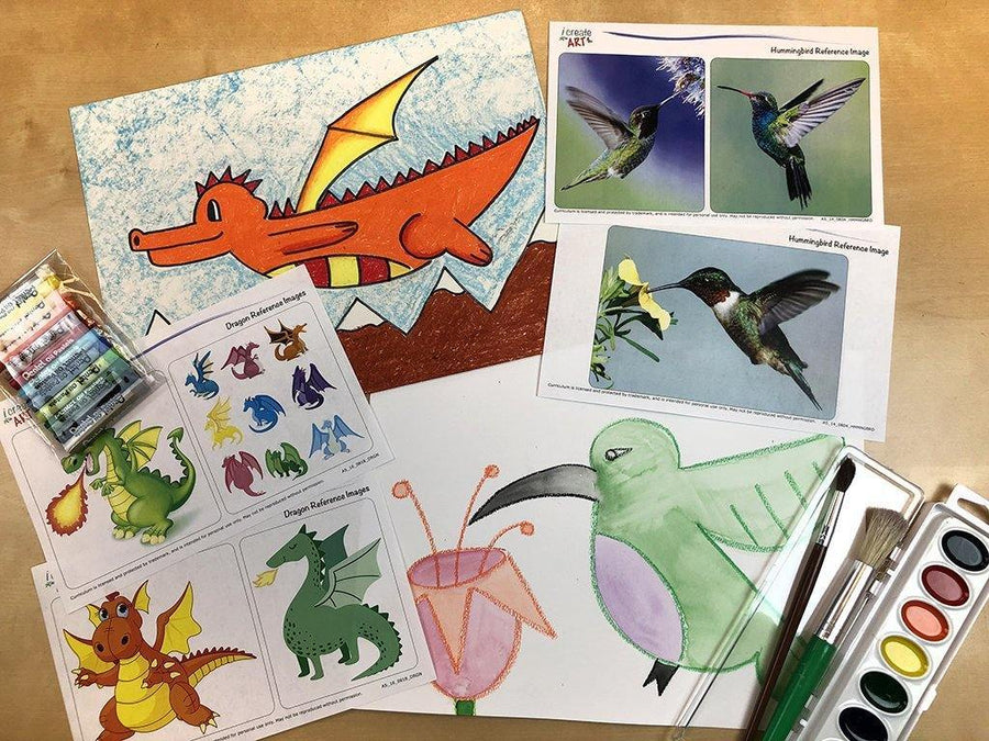 Young Artist Series: Dragon & Hummingbird Art Box I Create Art