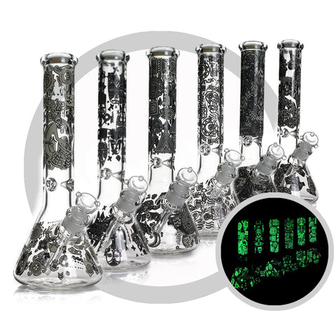 "Bong 13"" 7mm Thick Glow In Dark"