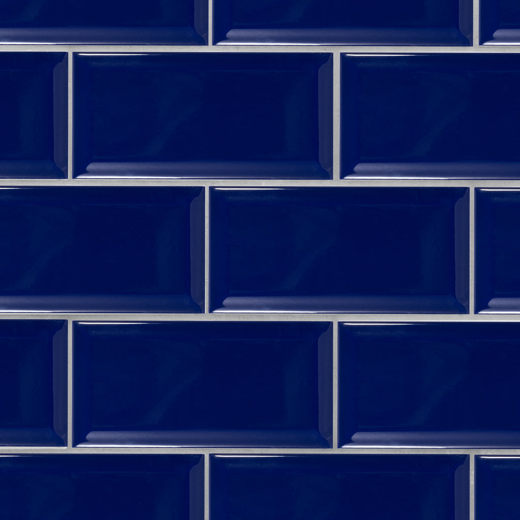 Beveled 4x8 Cobalt Blue Subway Tile
