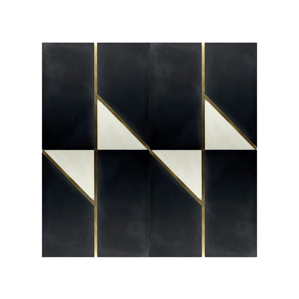 Bow Tie Black Brass Inlay Cement Tile