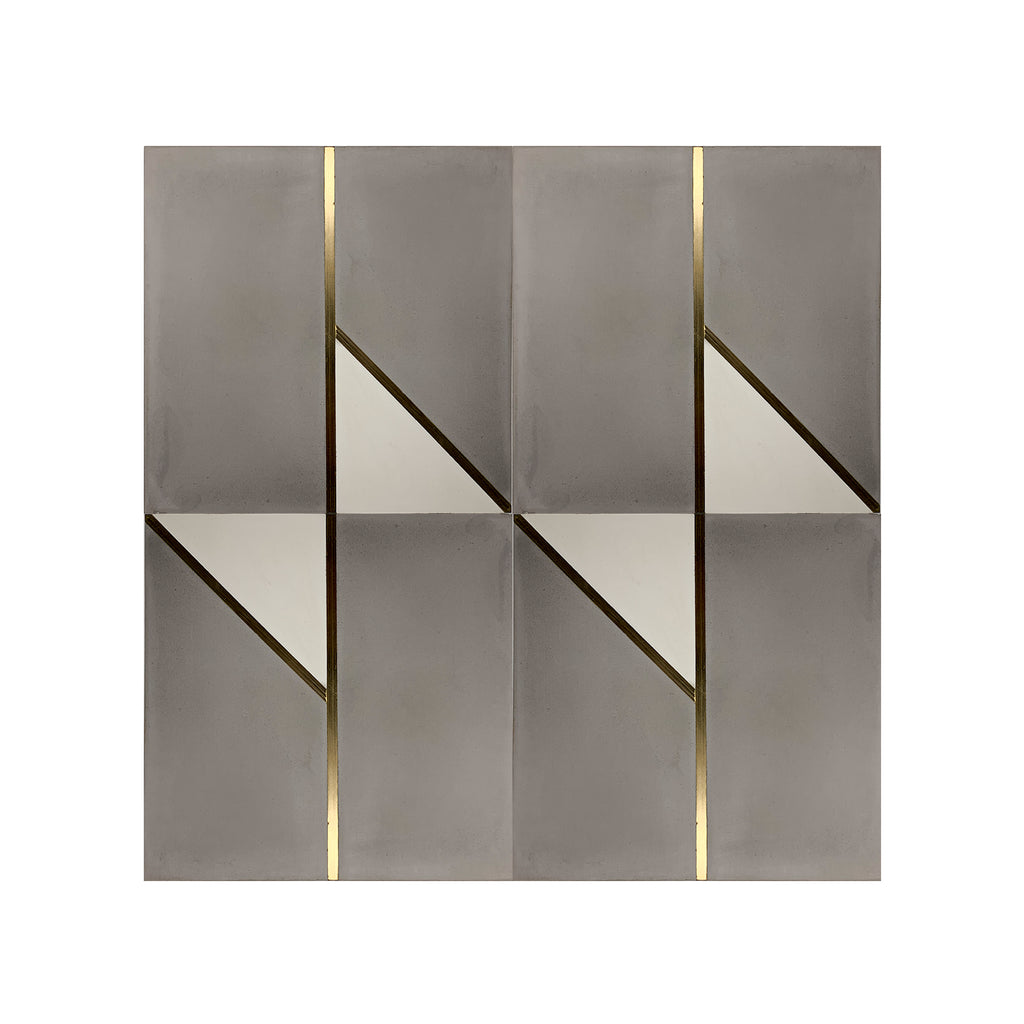 Bow Tie Grey Brass Inlay Cement Tile