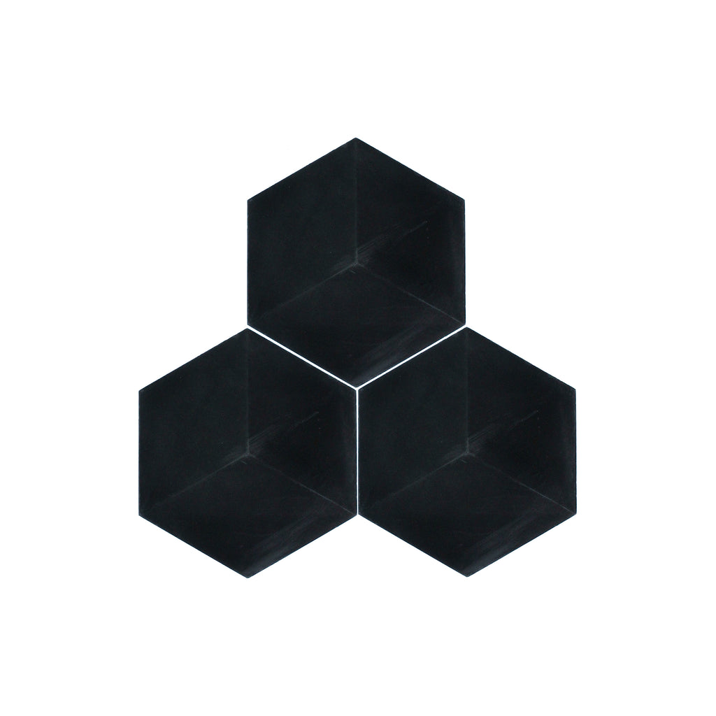 3D Black Hexagon Cement Tile