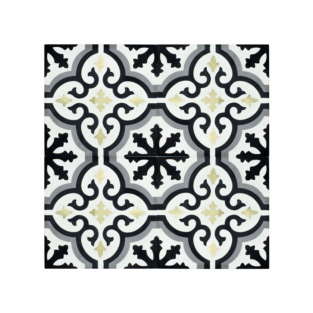 Cadiz Brass Inlay Cement Tile