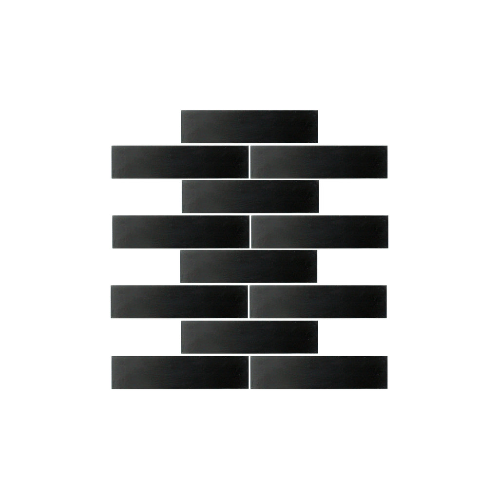 Noir Black 2x8 Brick Cement Tile - Lot of 47.88 sq ft