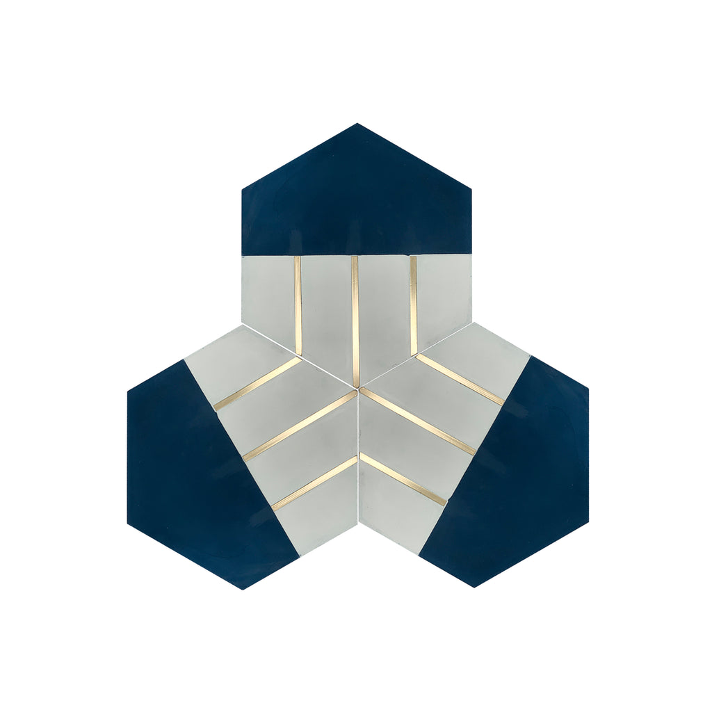 Claw® Navy Blue Hexagon Cement Tile with Brass Inlay