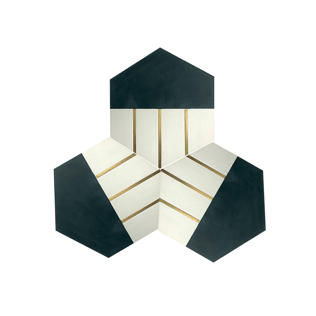 Claw® Pastel Green Hexagon Cement Tile with Brass Inlay