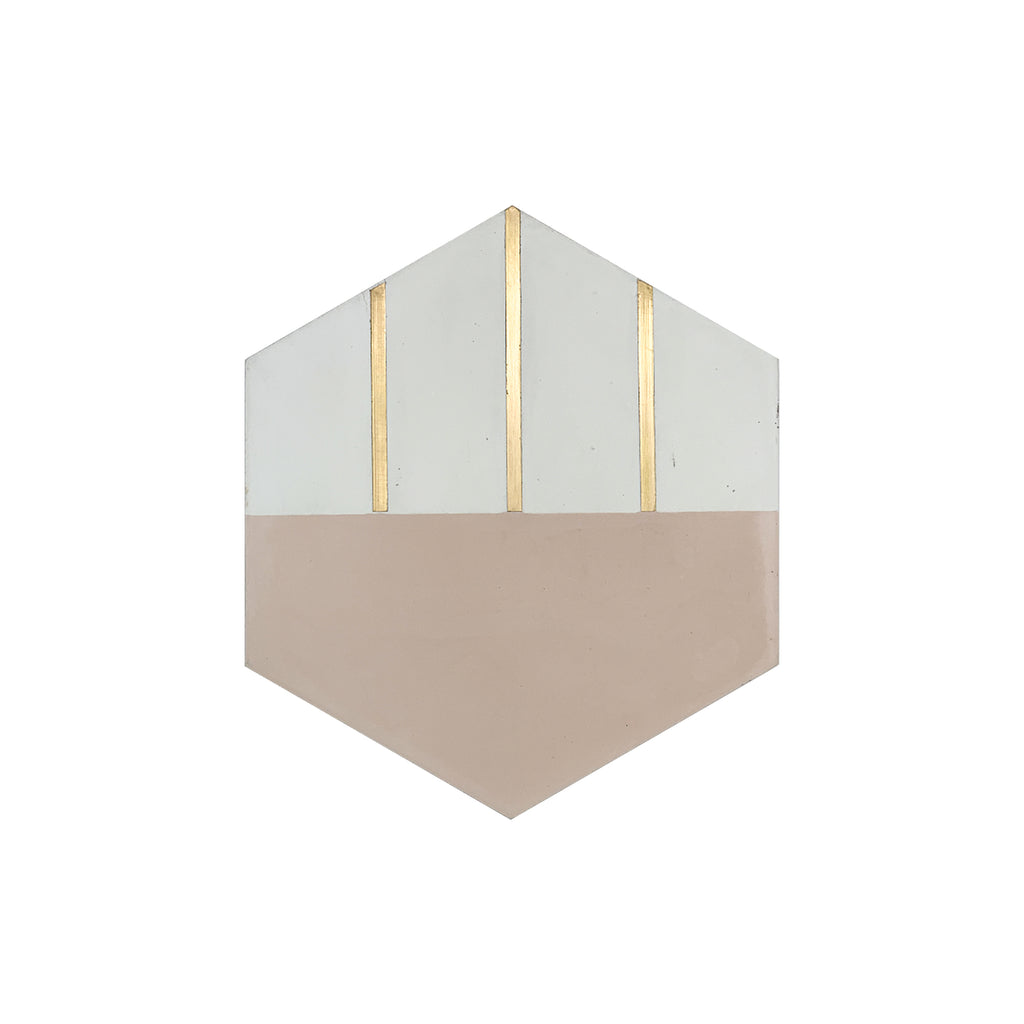 Claw® Pink Hexagon Cement Tile with Brass Inlay