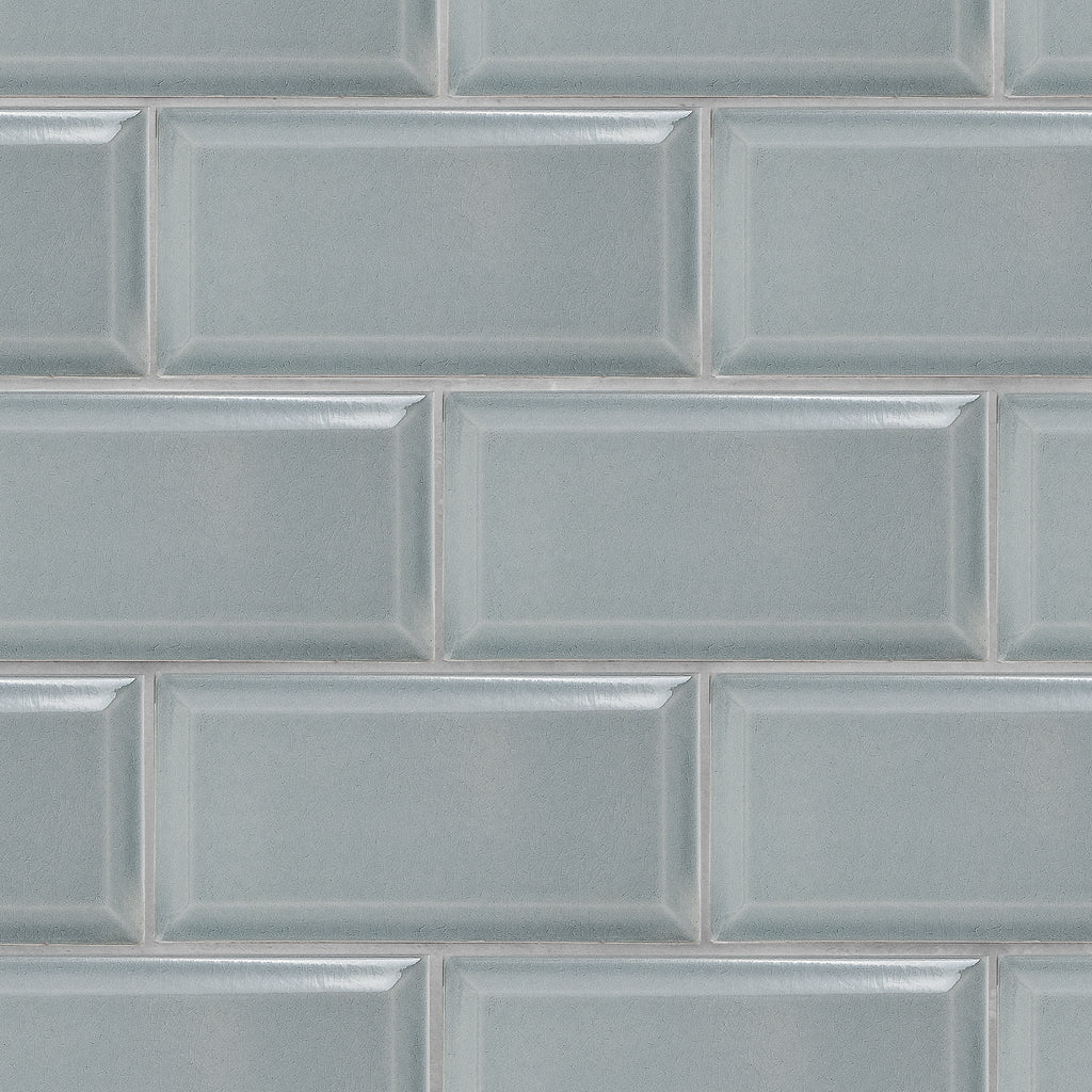 Crackle 4x8 Smoke Grey Subway Tile Beveled