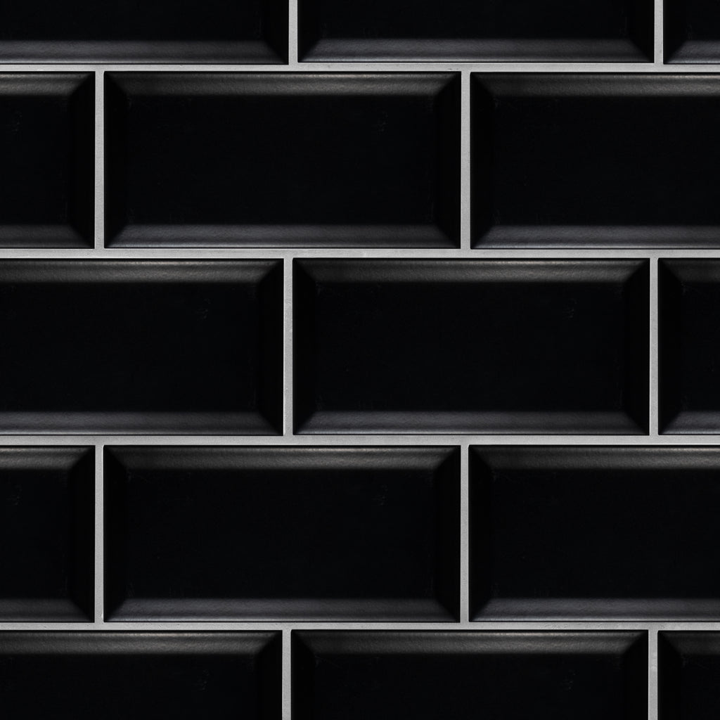 Beveled 4x8 Black Matte Subway Tile