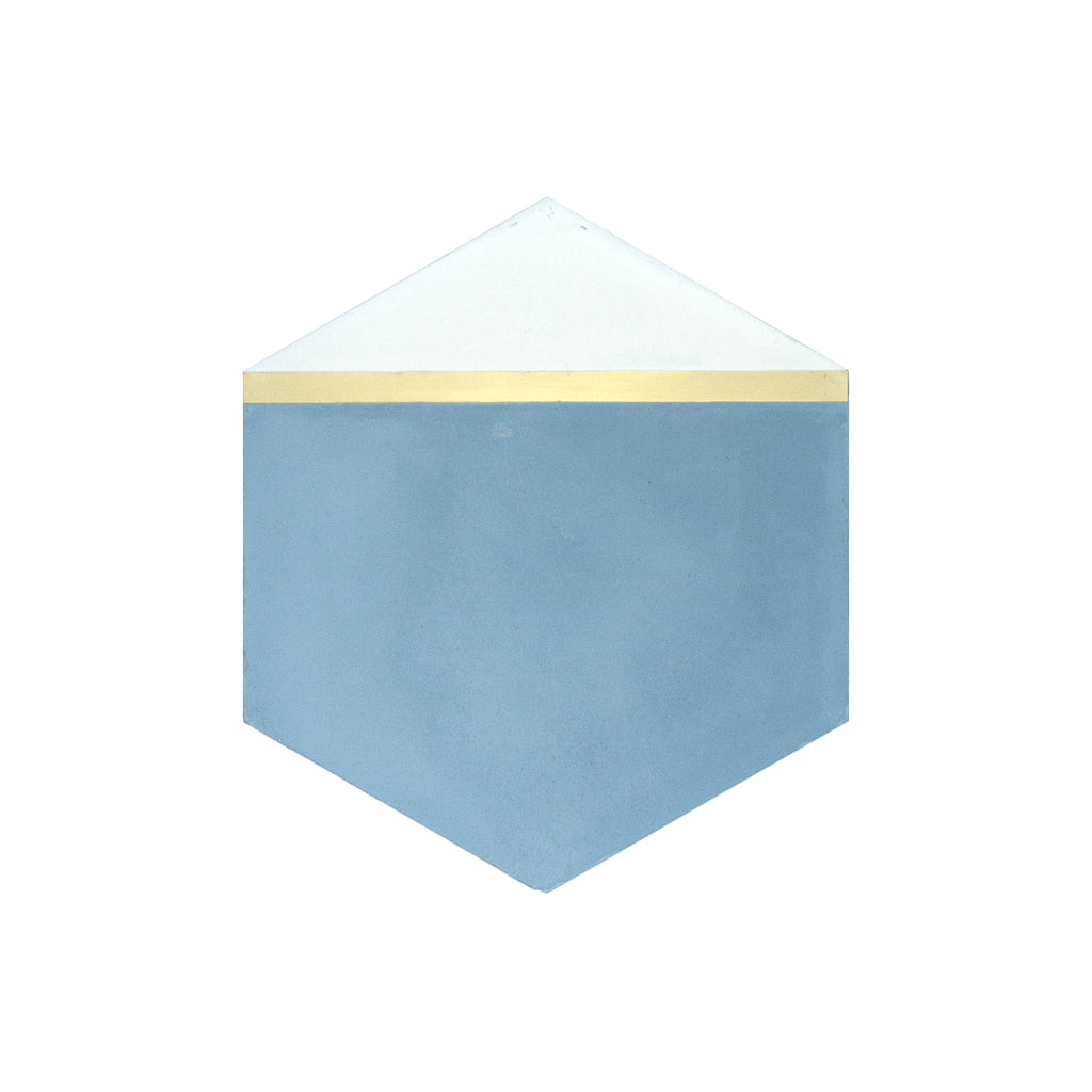 Pocket Square® Denim Blue Hexagon Cement Tile with Brass Inlay