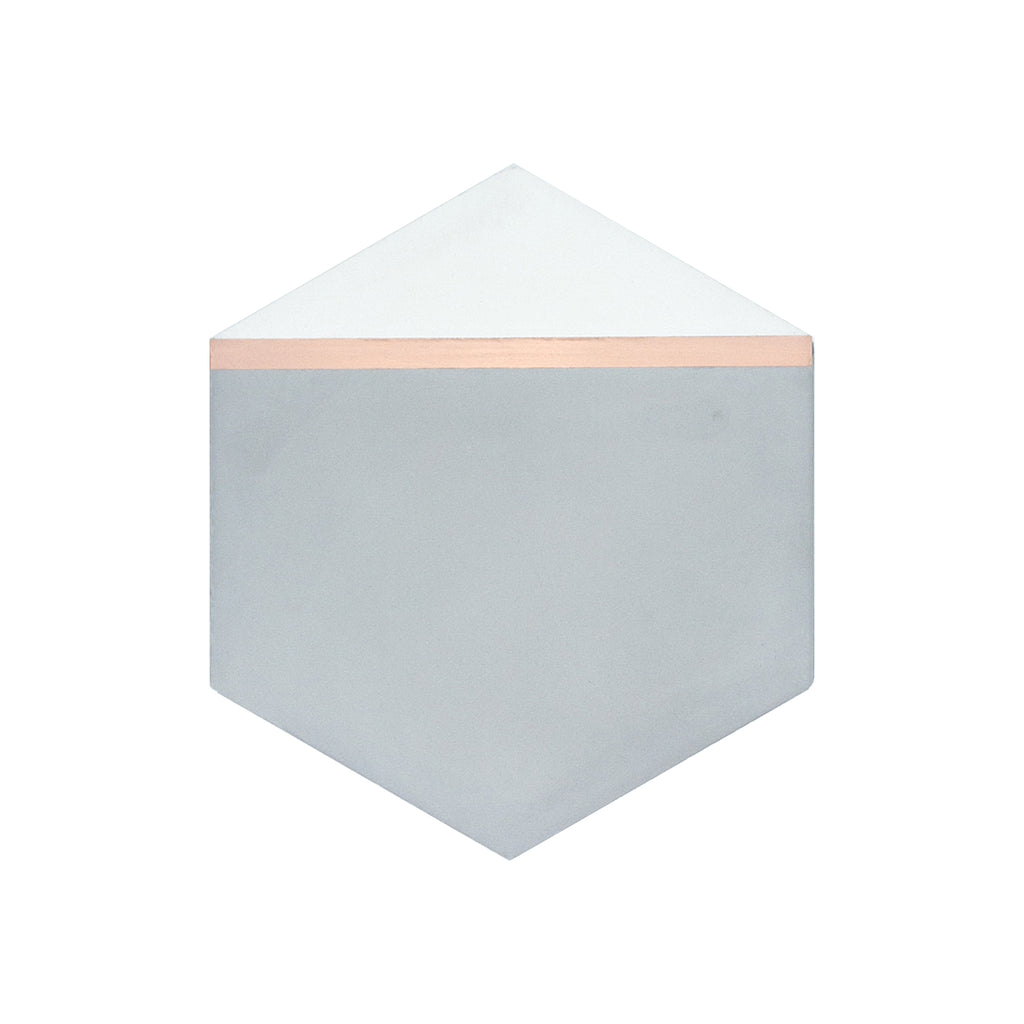 Pocket Square® Grey Hexagon Cement Tile with Red Brass Inlay