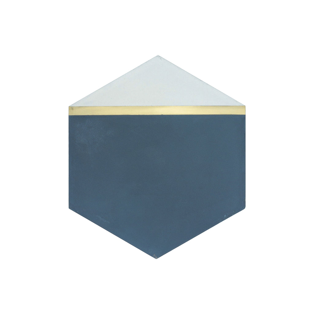 Pocket Square® Navy Blue Hexagon Cement Tile with Brass Inlay