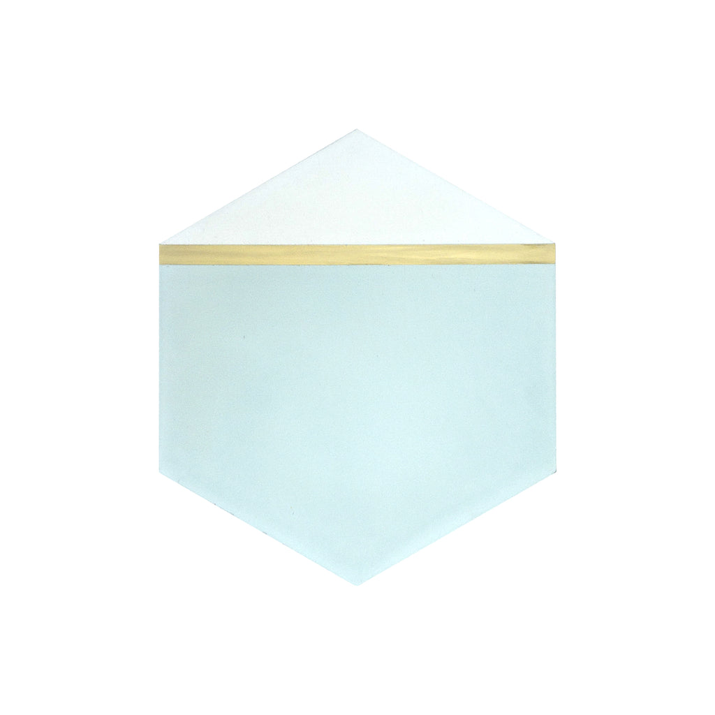 Pocket Square® Ombre Green Hexagon Cement Tile with Brass Inlay