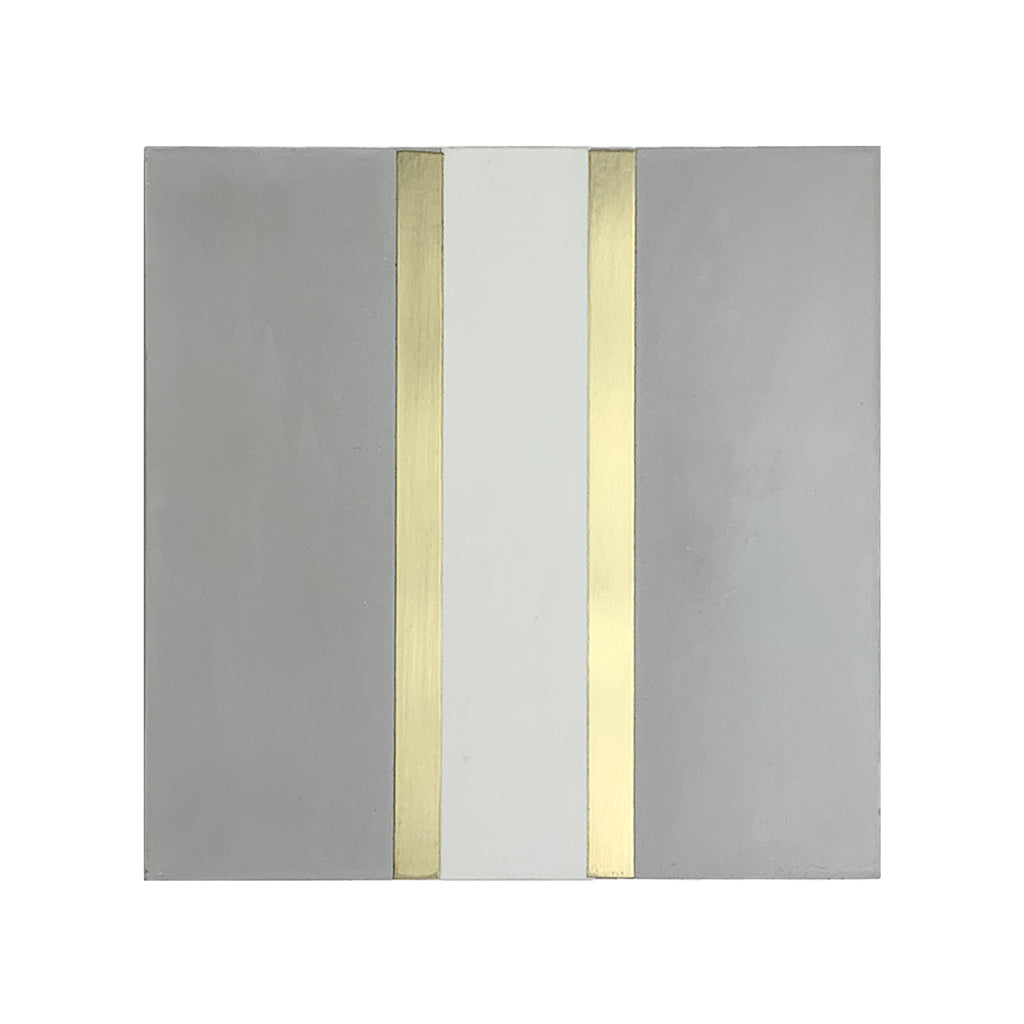 Stripe® Grey Cement Tile with Brass Inlay