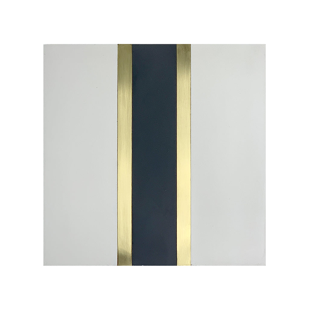 Stripe® White Cement Tile with Brass Inlay