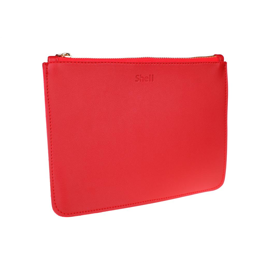 Chic And Classy Red Synthetic Leather Pouch