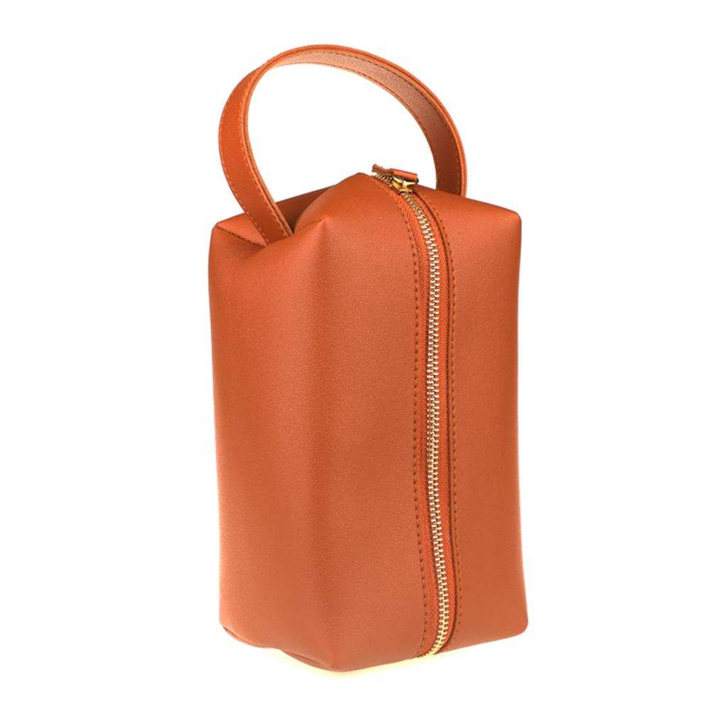 Cinnamon Brown Synthetic Leather Vanity Bag