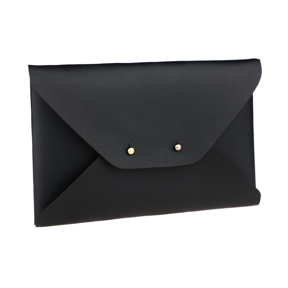 Black Double Lock Envelope Style Synthetic Leather