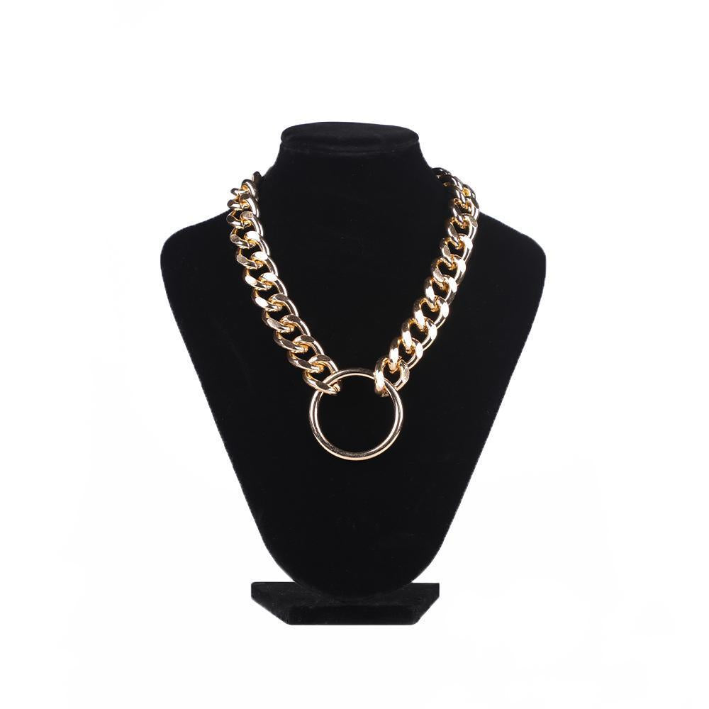 Thick Single Thread Gold Chain with Round Pendant Necklace