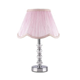 Diamond Crystal Table Lamp with Pink Bell Shade