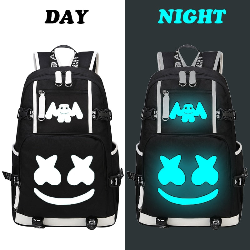 cd7e2e6a89f0 DJ Marshmallow Backpack multifunction USB charging for teenagers boys  Student Girls School Bags travel Luminous Bag Laptop Pack