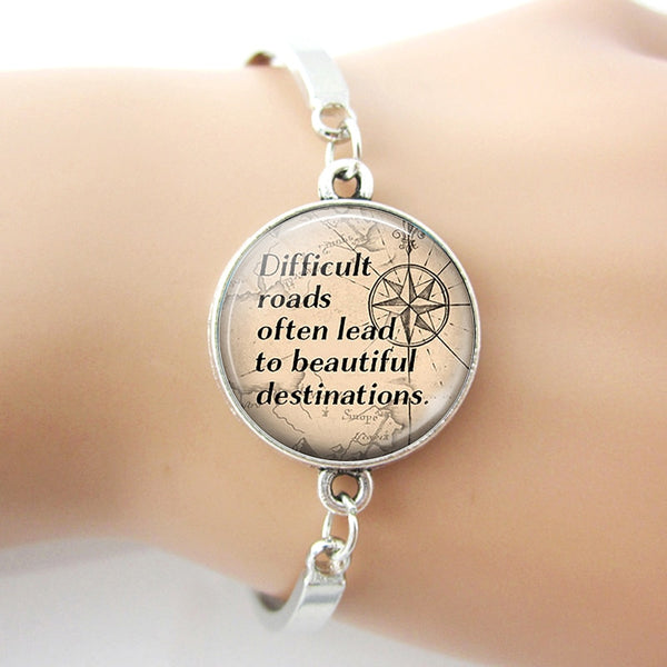 Difficult Roads Often Lead To Beautiful Destinations - Inspirational Quote Bracelet - Writer Author Gift