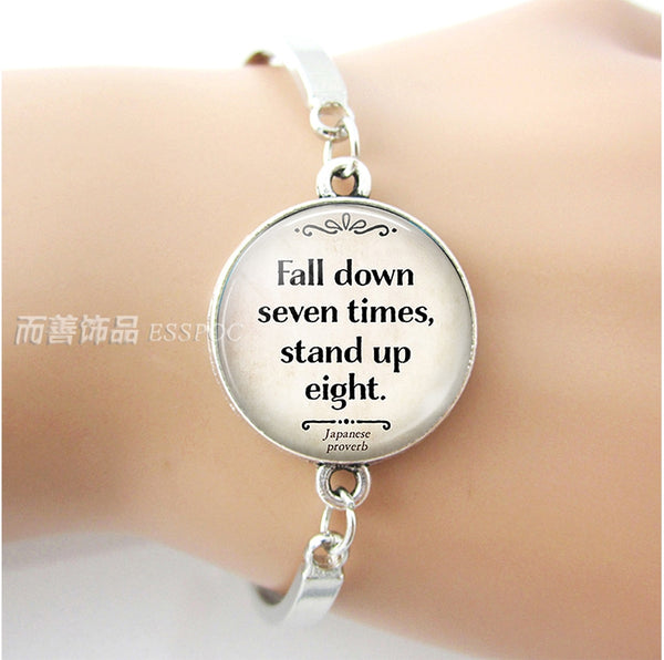 Fall Down Seven Times, Stand Up Eight Inspirational Quote Silver Bracelet - Writer Author Gift