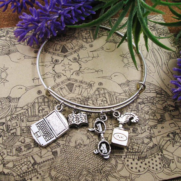 Author Themed Bangle Charm Bracelet - Gift for Writers and Authors