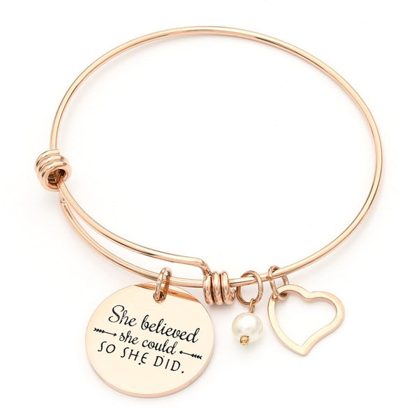 She Believed She Could So She Did - Inspirational Quote Bangle Heart Charm Bracelets - Writer Author Gift