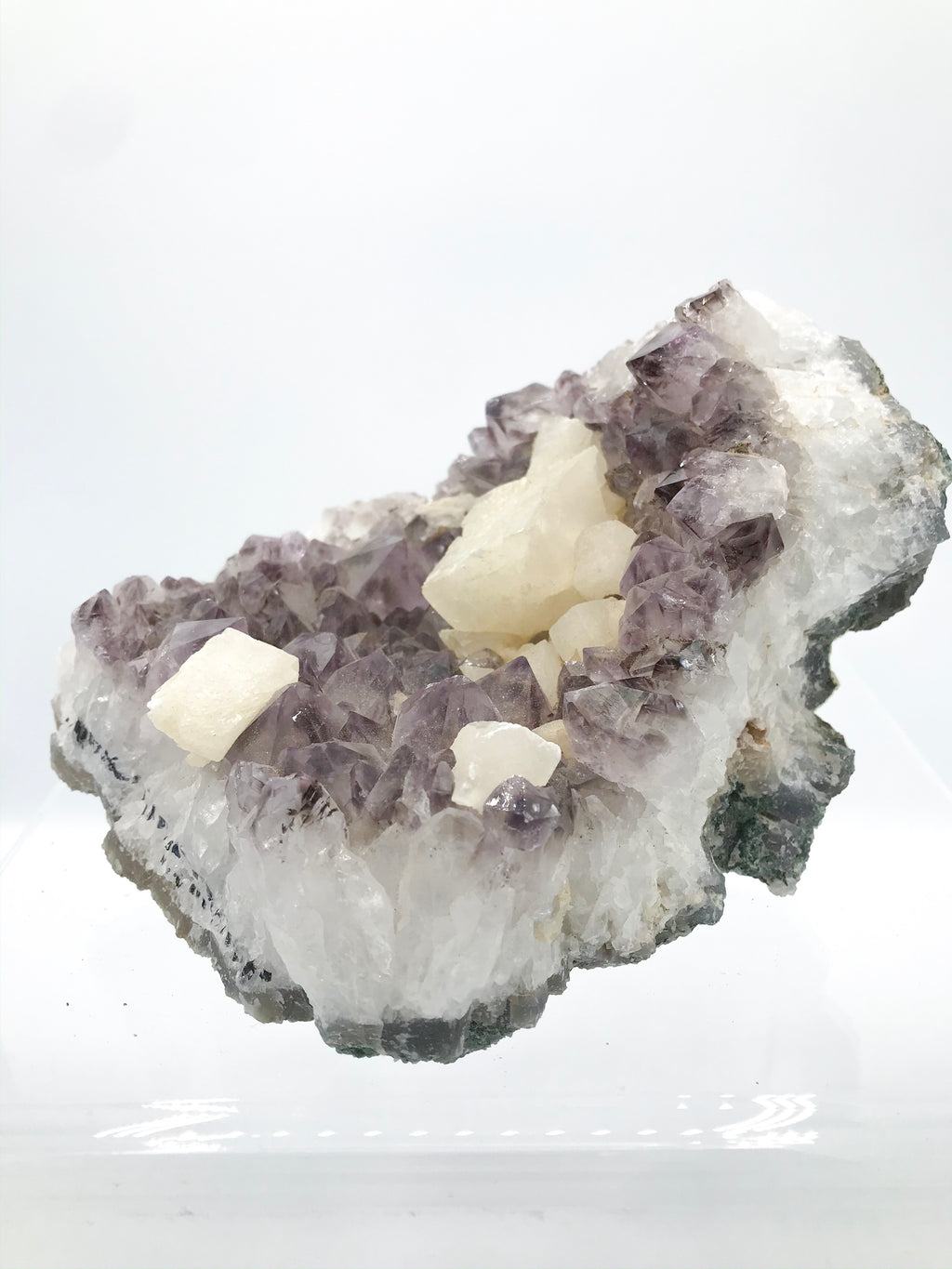 Amethyst with Calcite Geometric Cubes