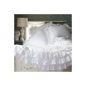 Ruffled White Euro Shams, Set of 2