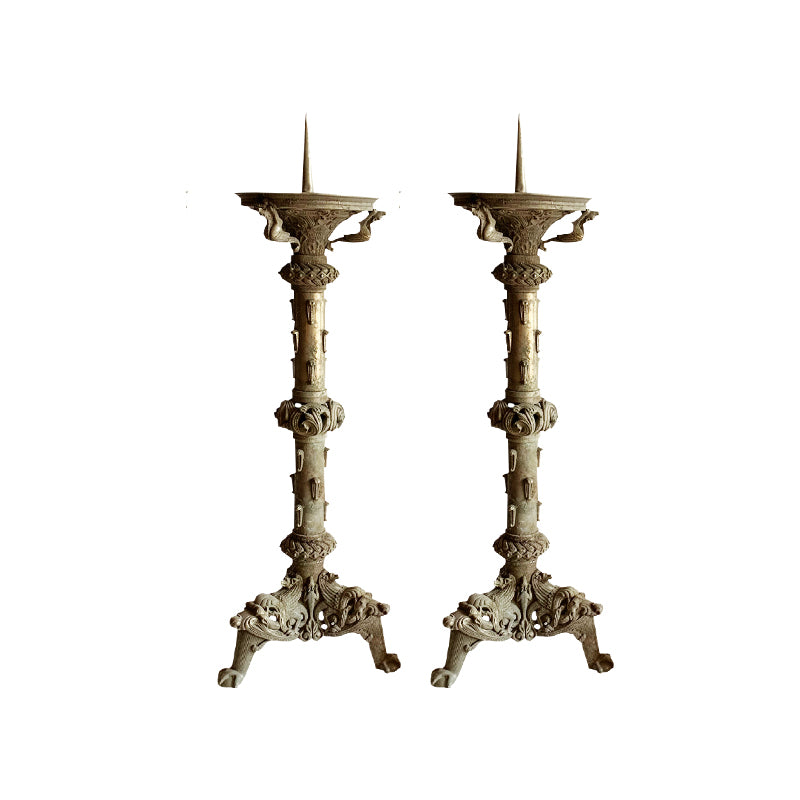 Large Bronze Altar Candlesticks, set of 2