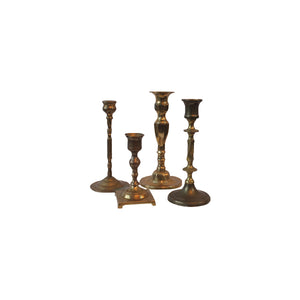 Assorted Vintage Brass Candlesticks, Set of 4