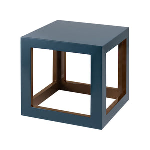 Tobacco Leaf Brown/Teal Small Cube Table