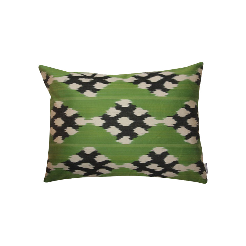 Green & Black Silk Ikat Pillow