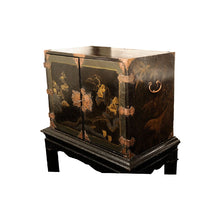 Load image into Gallery viewer, Chinoiserie Black Lacquer Cabinet