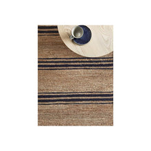 Load image into Gallery viewer, Indigo Striped Jute Rug
