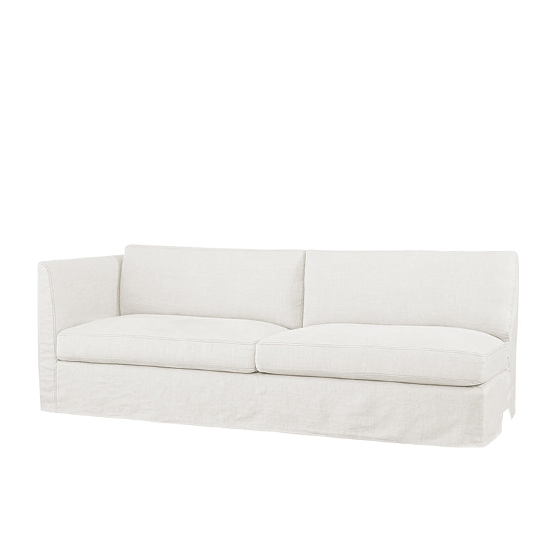 Tristan Slipcovered One Arm Sofa Left in Cloud White