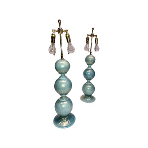 Venetian Turqoise Murano Glass with 24-Karat Gold Flecks, Pair