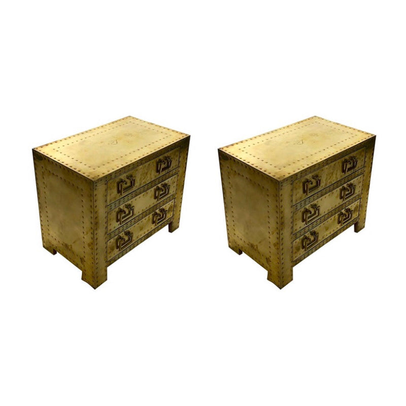 Pair of 1980's Brass Covered Bed SIde Tables
