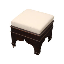 Load image into Gallery viewer, Wooden Stool with Cream Colored Upholstery