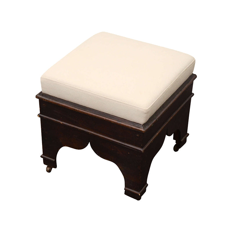 Wooden Stool with Cream Colored Upholstery