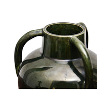 Load image into Gallery viewer, Dark Green Ceramic Vase with Three Handles