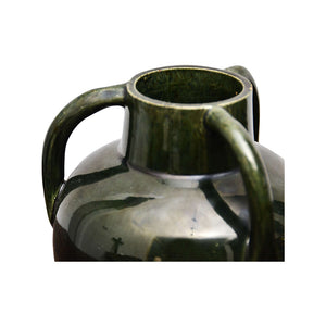 Dark Green Ceramic Vase with Three Handles
