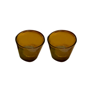 19th cent. glass blown candle holder in Yellow, set of 2