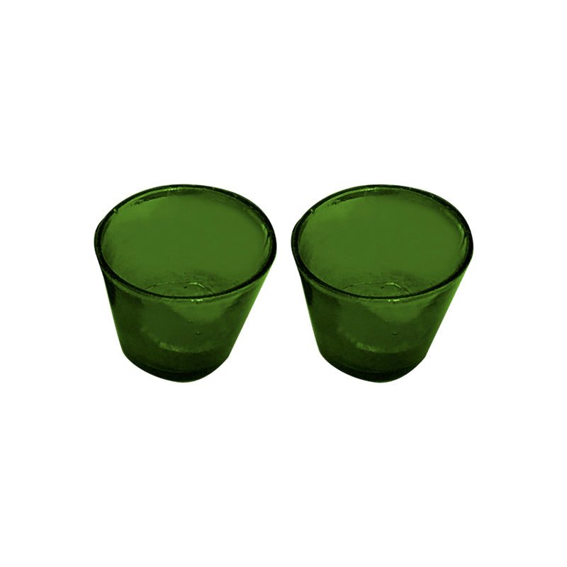 19th cent. glass blown candle holders in Green, set of 2