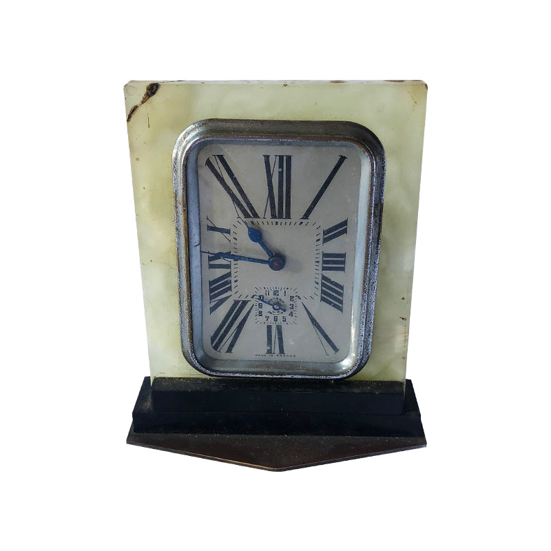 Alabaster Clock on Wooden Plyth