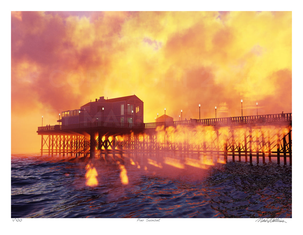Pier Sunset Signed and Numbered Giclée Print