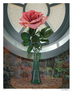 Pink Rose in Vase Signed and Numbered Giclée Print