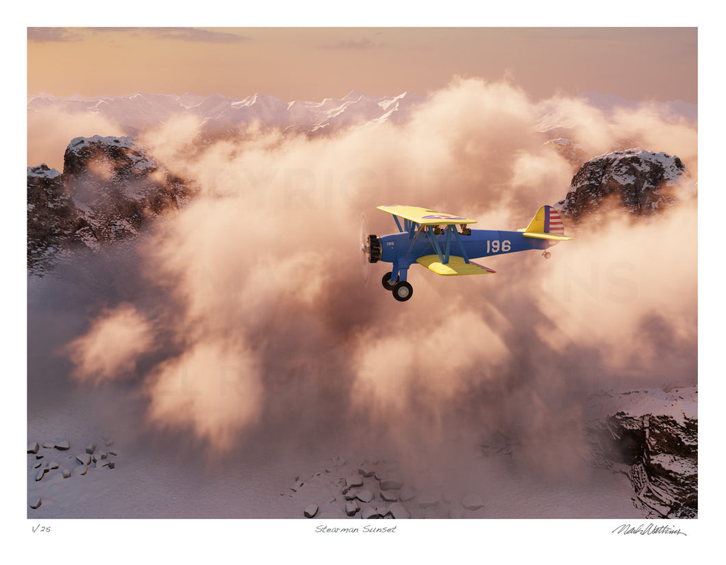 Stearman Sunset Signed and Numbered Giclée Print